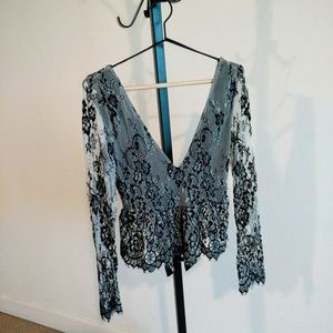 Topshop Bow Back Lace Blouse